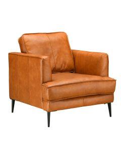 LEO nojatuoli, konjakinruskeaa nahkaa