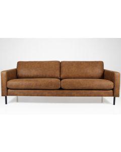 Vintageruskea kolmenistuttava Suomessa valmistettu sohva