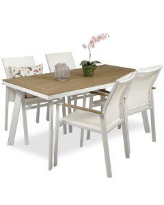 Woodie pöytä + 4 Luna tuolia, valkoinen