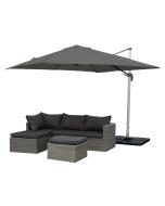 Roman riippuva aurinkovarjo 2,5 x 2,5m, harmaa